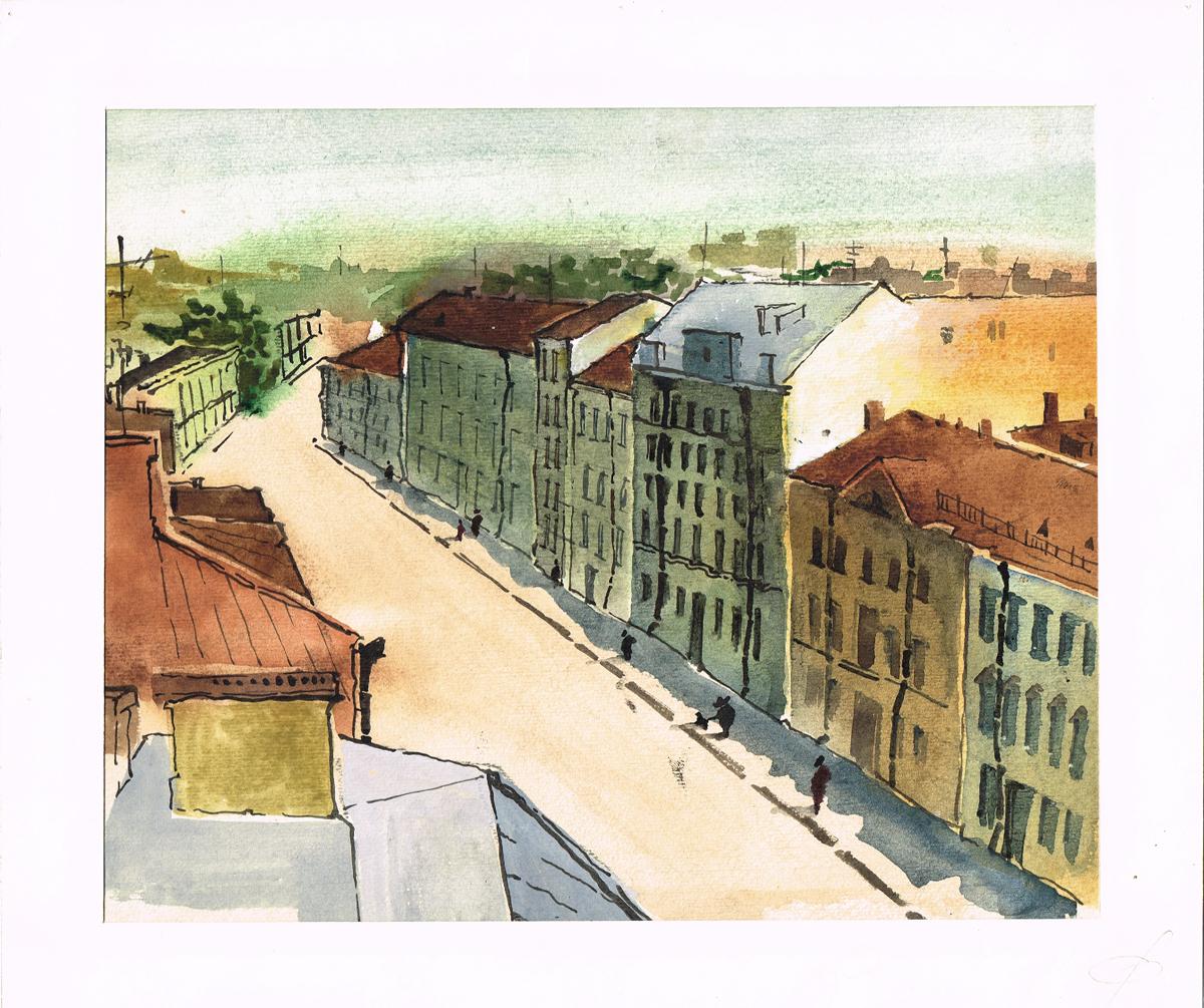 Санкт-Петербург, Миллионная улица. Рисунок, акварель. Россия, 2000-е гг.