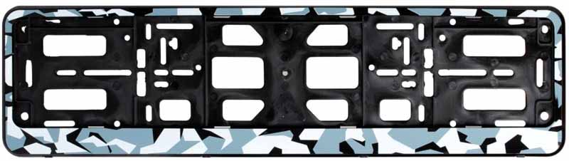 Рамка под номерной знак Airline Зима, цвет: камуфляжAFC-08Рамка Airline выполнена в традиционной прямоугольной форме и предназначена для фиксирования на бампере автомобиля номерного знака. Рамка устанавливается на машину за считанные секунды и прочно фиксируется благодаря механизму крепления, который прошел проверку многоуровневыми стандартами качества. Полипропилен, из которого изготовлено изделие, не подвержен перепадам температур и отличается высоким порогом прочности. Преимущества: - Морозостойкий материал; - Простое и надежное крепление; - Российско-европейский размер; - Стильный дизайн; -Соответствует требованиям ГИБДД.