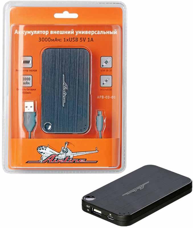 Аккумулятор внешний Airline, универсальный, 3000мАч, 1хUSB 5V 1AAPB-03-01AIRLINE оснастил аккумулятор не только стильным и современным дизайном, но и сократил размеры переносного устройства, сделав его максимально компактным. Технические характеристики изделия позволяют подключать к устройству электронику с USB, а также microUSB-приводом. Преимущества:- Универсальность- Высокая емкость при малых размерах- Высокое качество материаловВыход - 1xUSB 5В/1AВход - microUSB 5В/1Аемкость встроенного аккумулятора - 3000мАч