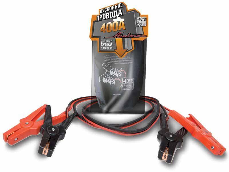 Провода прикуривания Airline, 2,5 м, 400 АSA-400-01Провода прикуривания Airline предназначены для вспомогательного запуска легковых и легкогрузовых автомобилей. Данная модель имеет ряд преимуществ, увеличенные зажимы с широким углом захвата. Провод и зажимы полностью заизолированы с нерабочей стороны, что исключает риск случайного замыкания контактов и вывода из строя электронной системы автомобиля.Сечение провода - 15,9 кв.мм,Длина - 2,5 м,Напряжение - 12/24B,Сила тока - 400 А.
