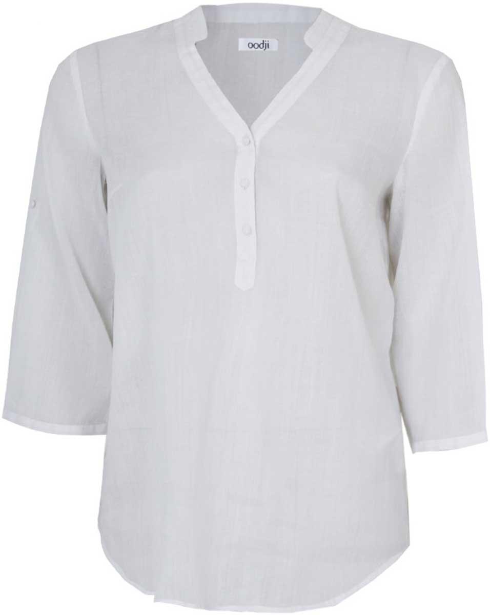 Блузка женская oodji Collection, цвет: белый. 21412080/26383/1000N. Размер 42-164 (48-164) платье oodji collection цвет черный белый 24001104 1 35477 1079s размер l 48