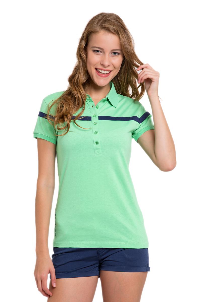 Поло женское U.S. Polo Assn., цвет: зеленый. G082CS011P10I3041. Размер S (44)G082CS011P10I3041Стильная футболка-поло с короткими рукавами и отложным воротником выполнена из натурального хлопка. На груди модель застегивается на пуговицы.