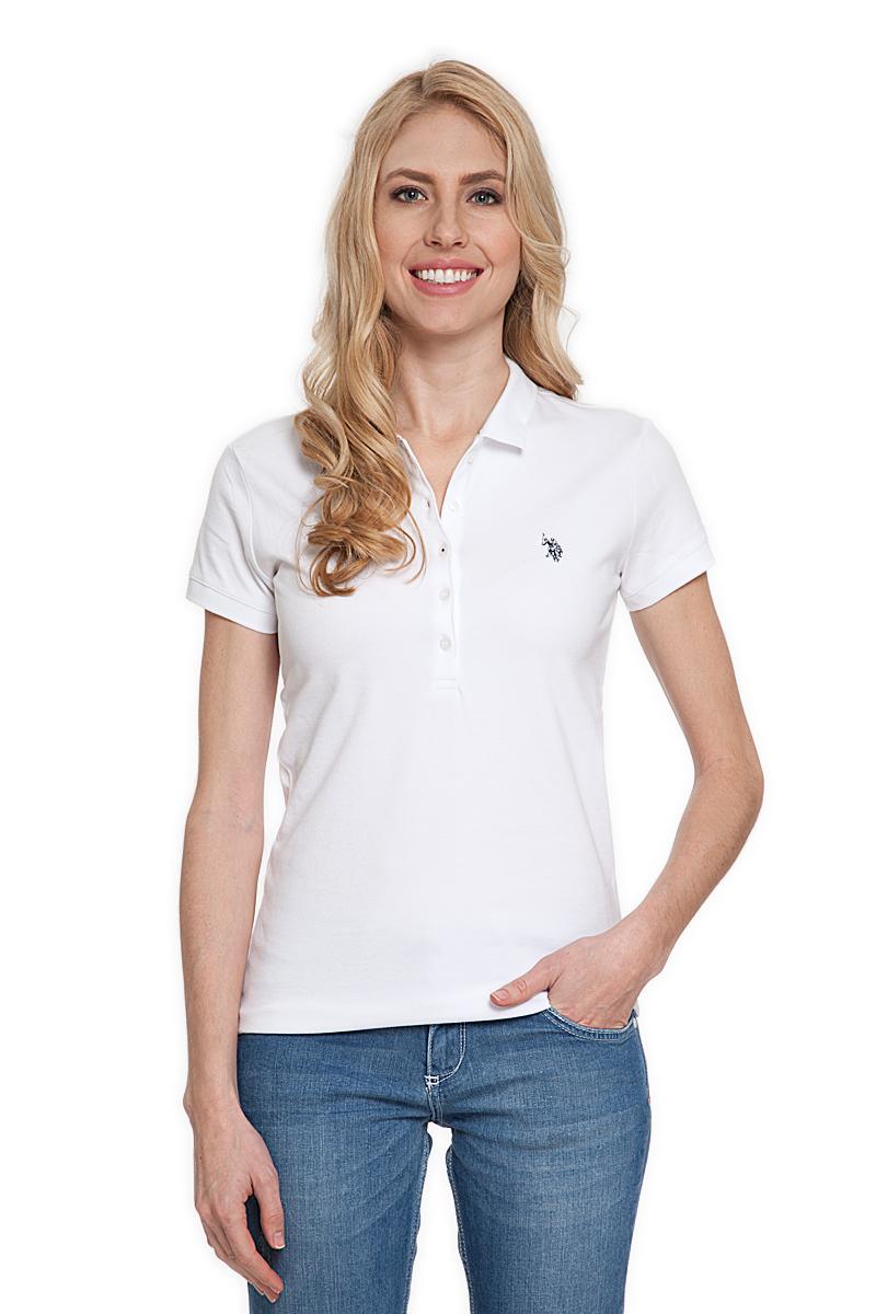 Поло женское U.S. Polo Assn., цвет: белый. G082CS011P26TP01IY4. Размер L (48)G082CS011P26TP01IY4Стильная футболка-поло с короткими рукавами и отложным воротником выполнена из натурального эластичного хлопка. На груди модель застегивается на пуговицы.