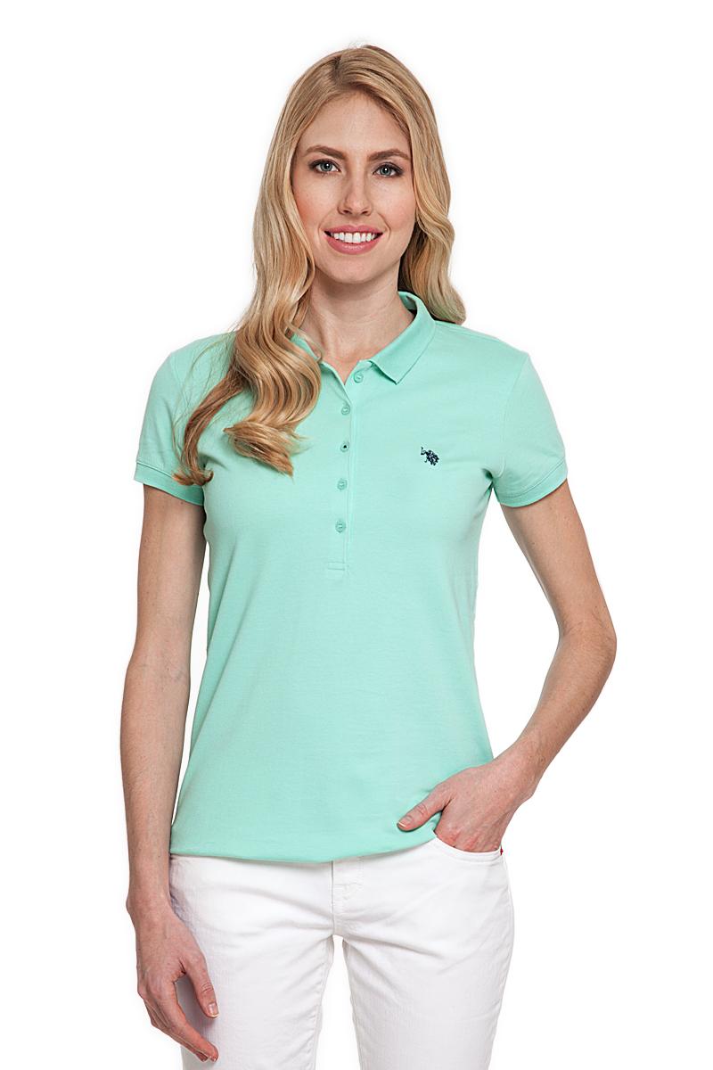 Поло женское U.S. Polo Assn., цвет: голубой. G082CS011P26TP01IY4. Размер S (44)G082CS011P26TP01IY4Стильная футболка-поло с короткими рукавами и отложным воротником выполнена из натурального эластичного хлопка. На груди модель застегивается на пуговицы.