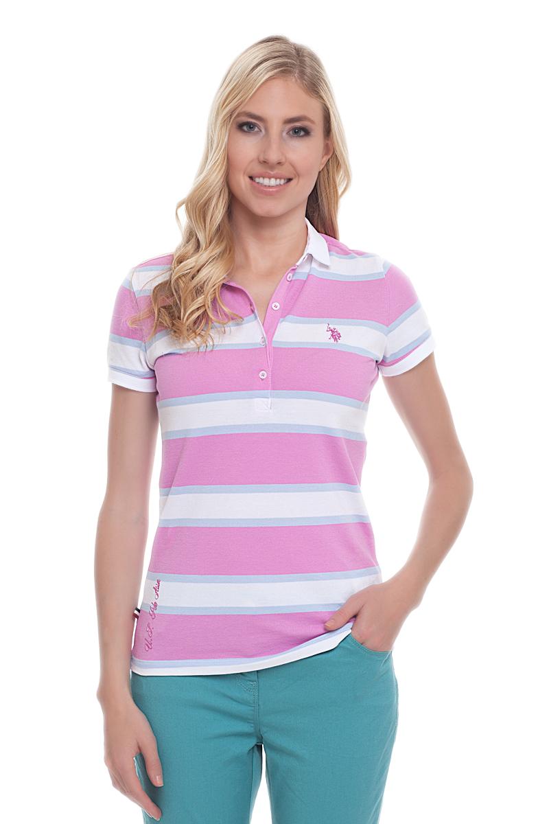 Поло женское U.S. Polo Assn., цвет: розовый, белый. G082CS011P26Y4026. Размер XXS (40)G082CS011P26Y4026Стильная футболка-поло с короткими рукавами и отложным воротником выполнена из натурального эластичного хлопка. На груди модель застегивается на пуговицы.