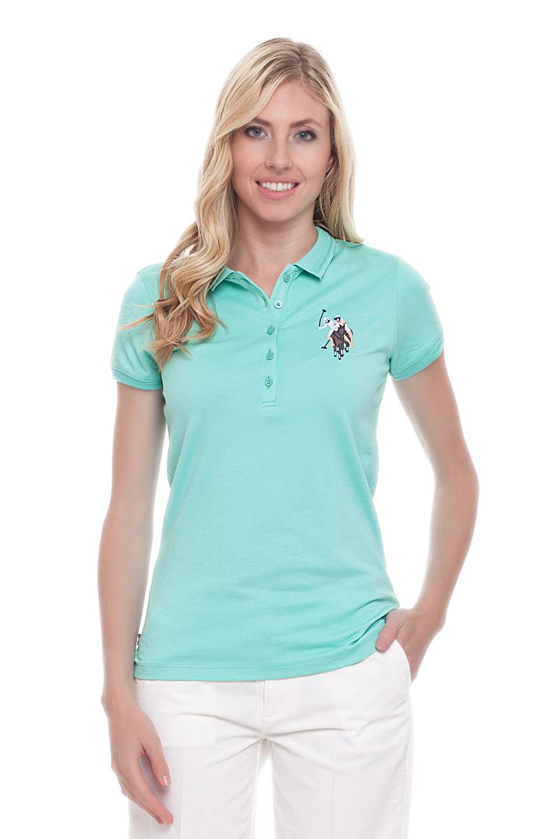Поло женское U.S. Polo Assn., цвет: голубой. G082CS011U02TP15IY4. Размер M (46)G082CS011U02TP15IY4Стильная футболка-поло с короткими рукавами и отложным воротником выполнена из высококачественного материала. На груди модель застегивается на пуговицы.