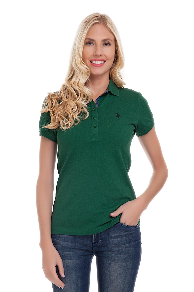 Поло женское U.S. Polo Assn., цвет: темно-зеленый. G082CS0110TP01S04-011. Размер L (48)G082CS0110TP01S04-011Стильная футболка-поло с короткими рукавами и отложным воротником выполнена из натурального эластичного хлопка. На груди модель застегивается на пуговицы.