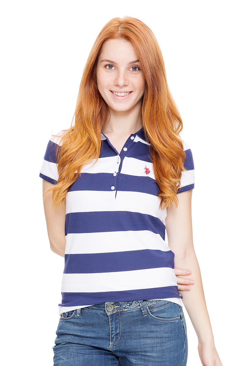 Поло женское U.S. Polo Assn., цвет: темно-синий, белый. G082GL0110GUNDA-IY06. Размер L (48)G082GL0110GUNDA-IY06Стильная футболка-поло с короткими рукавами и отложным воротником выполнена из натурального эластичного хлопка. На груди модель застегивается на пуговицы.