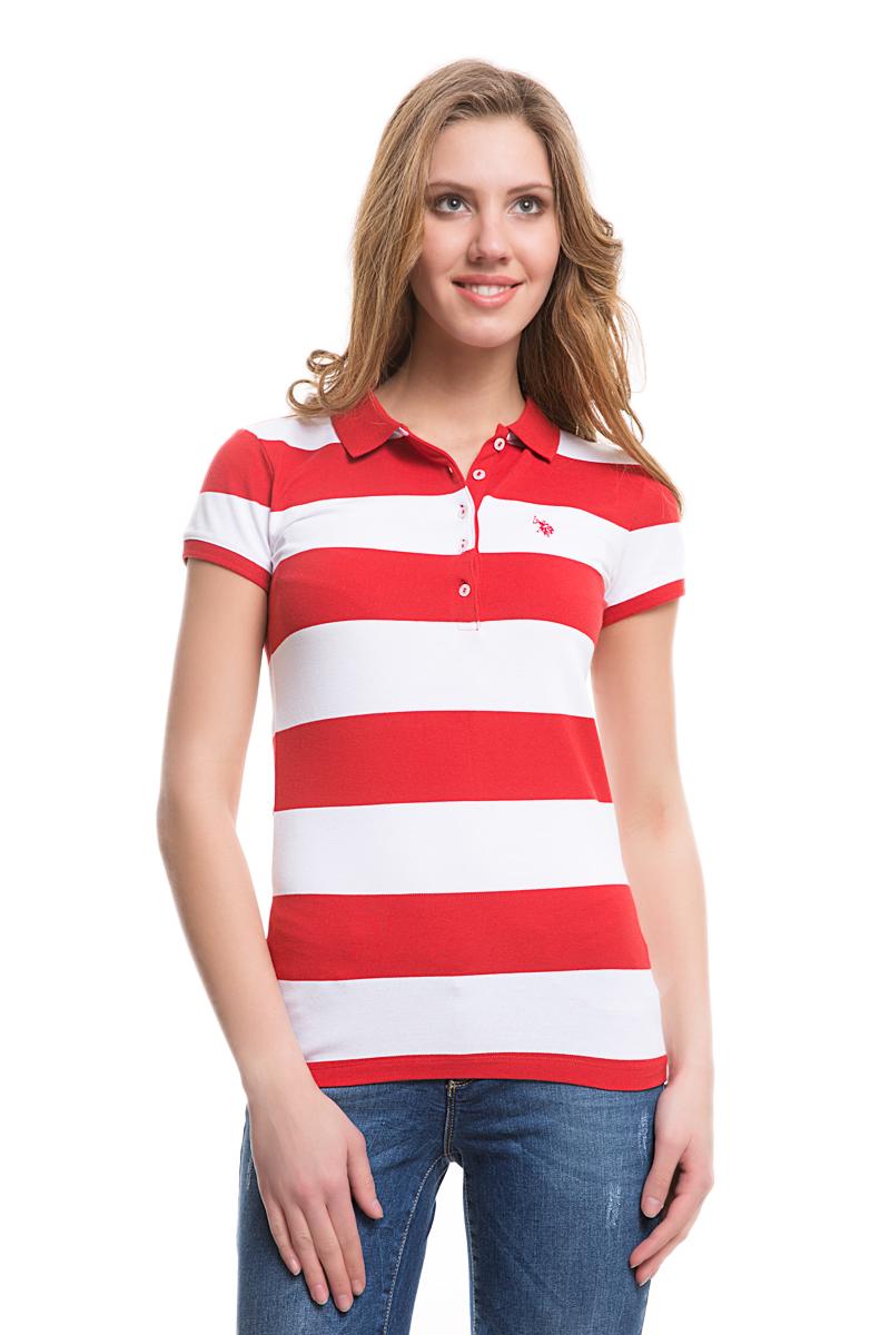 Поло женское U.S. Polo Assn., цвет: красный, белый. G082GL0110GUNDA. Размер S (44)G082GL0110GUNDAСтильная футболка-поло с короткими рукавами и отложным воротником выполнена из натурального эластичного хлопка. На груди модель застегивается на пуговицы.