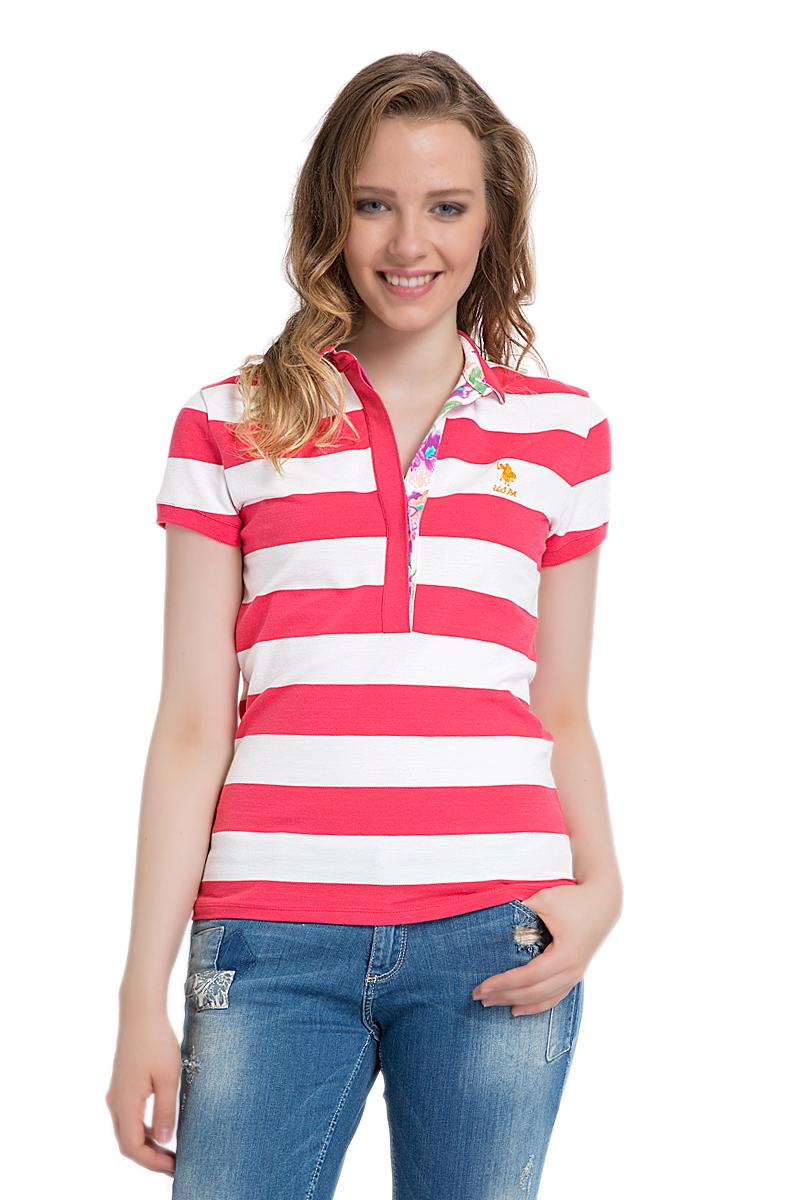 Поло женское U.S. Polo Assn., цвет: коралловый, белый. G082SZ0110MARLO. Размер S (44)G082SZ0110MARLOСтильная футболка-поло с короткими рукавами и отложным воротником выполнена из натурального эластичного хлопка. На груди модель застегивается на пуговицы.