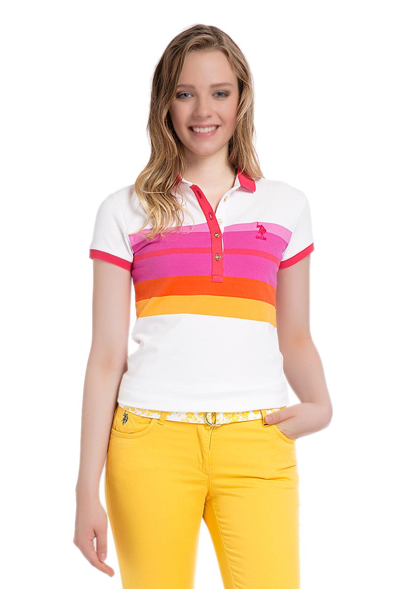 Поло женское U.S. Polo Assn., цвет: белый, розовый. G082SZ0110MASSIMA. Размер S (44)G082SZ0110MASSIMAСтильная футболка-поло с короткими рукавами и отложным воротником выполнена из натурального эластичного хлопка. На груди модель застегивается на пуговицы.
