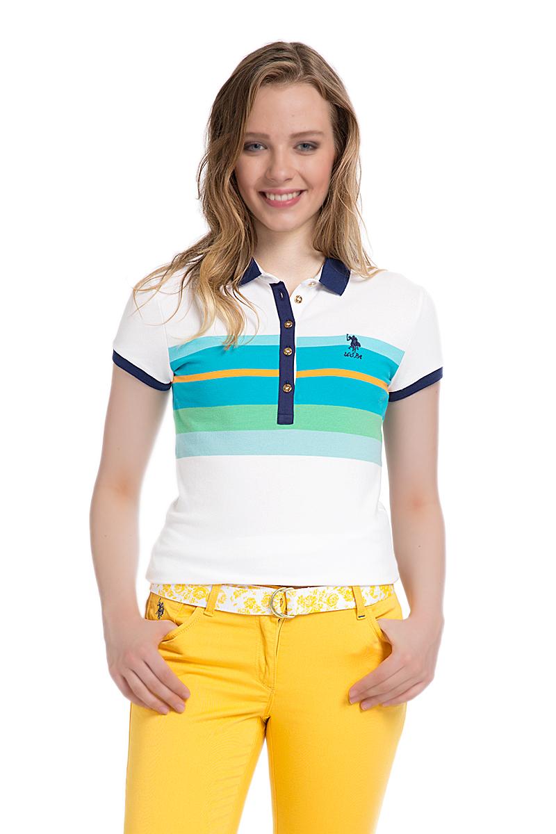 Поло женское U.S. Polo Assn., цвет: белый, синий. G082SZ0110MASSIMA. Размер M (46)G082SZ0110MASSIMAСтильная футболка-поло с короткими рукавами и отложным воротником выполнена из натурального эластичного хлопка. На груди модель застегивается на пуговицы.
