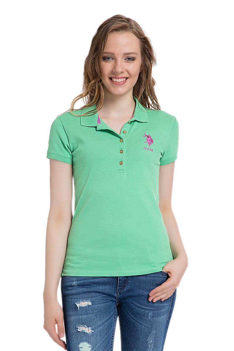Поло женское U.S. Polo Assn., цвет: зеленый. G082SZ0110MTS02IY06-011. Размер XL (50)G082SZ0110MTS02IY06-011Стильная футболка-поло с короткими рукавами и отложным воротником выполнена из натурального эластичного хлопка. На груди модель застегивается на пуговицы.