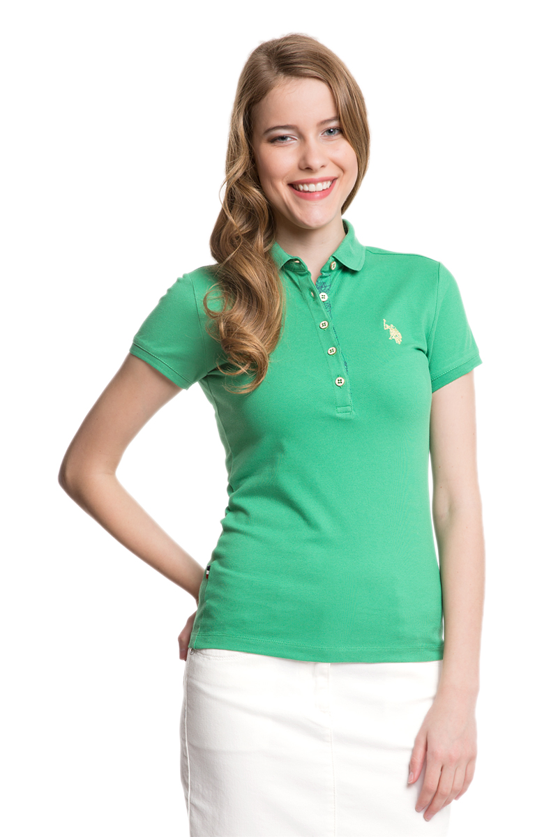 Поло женское U.S. Polo Assn., цвет: зеленый. G082SZ0110RP01IY05-011. Размер S (44)G082SZ0110RP01IY05-011Стильная футболка-поло с короткими рукавами и отложным воротником выполнена из натурального эластичного хлопка. На груди модель застегивается на пуговицы.