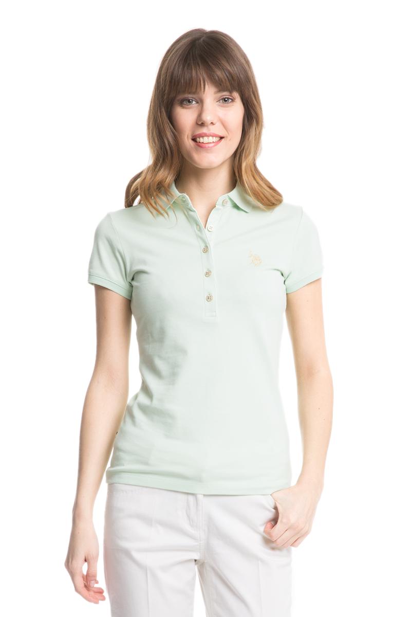 Поло женское U.S. Polo Assn., цвет: бледно-зеленый. G082SZ0110RP01IY05-011. Размер M (46)G082SZ0110RP01IY05-011Стильная футболка-поло с короткими рукавами и отложным воротником выполнена из натурального эластичного хлопка. На груди модель застегивается на пуговицы.