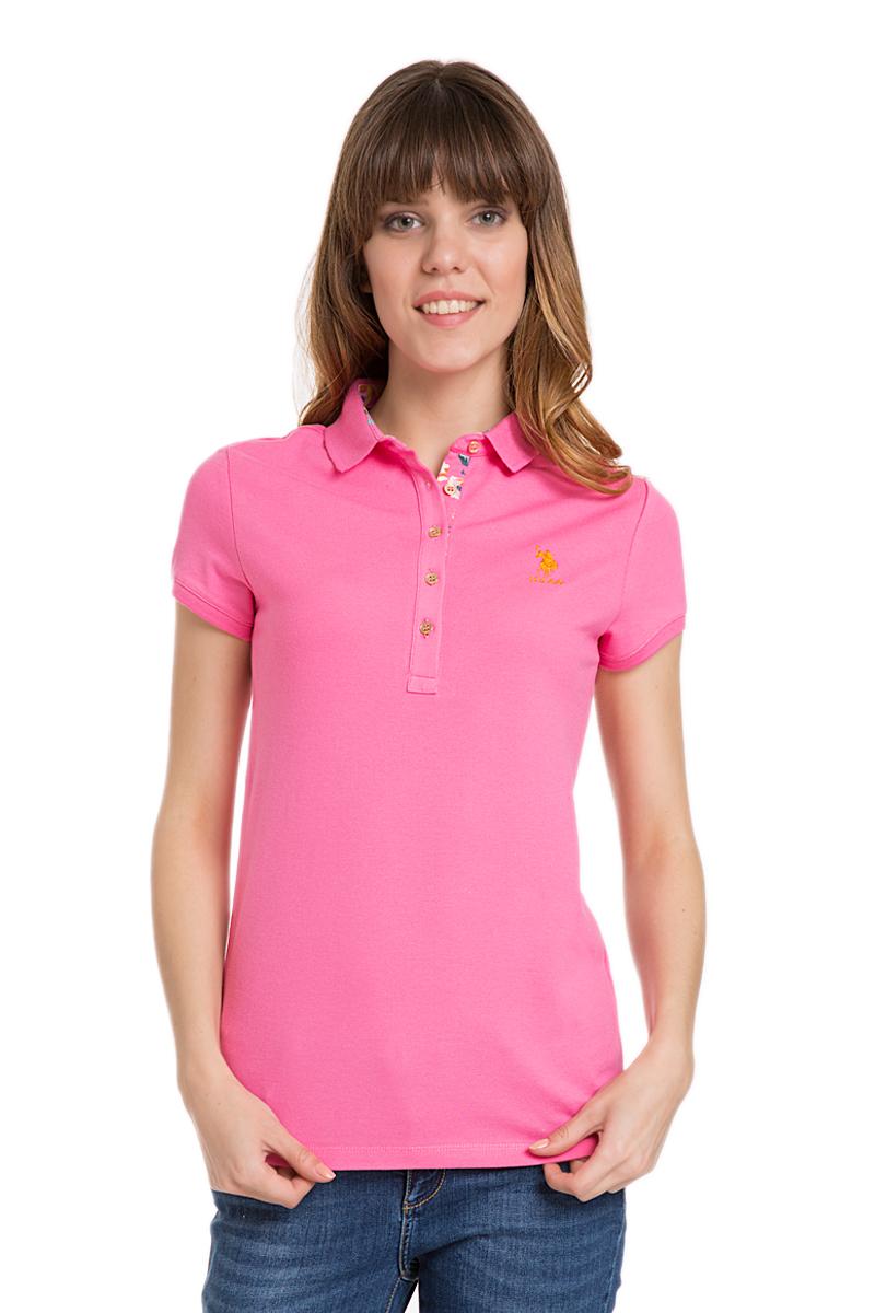 Поло женское U.S. Polo Assn., цвет: розовый. G082SZ0110TP01IY06-011. Размер L (48)G082SZ0110TP01IY06-011Стильная футболка-поло с короткими рукавами и отложным воротником выполнена из натурального эластичного хлопка. На груди модель застегивается на пуговицы.