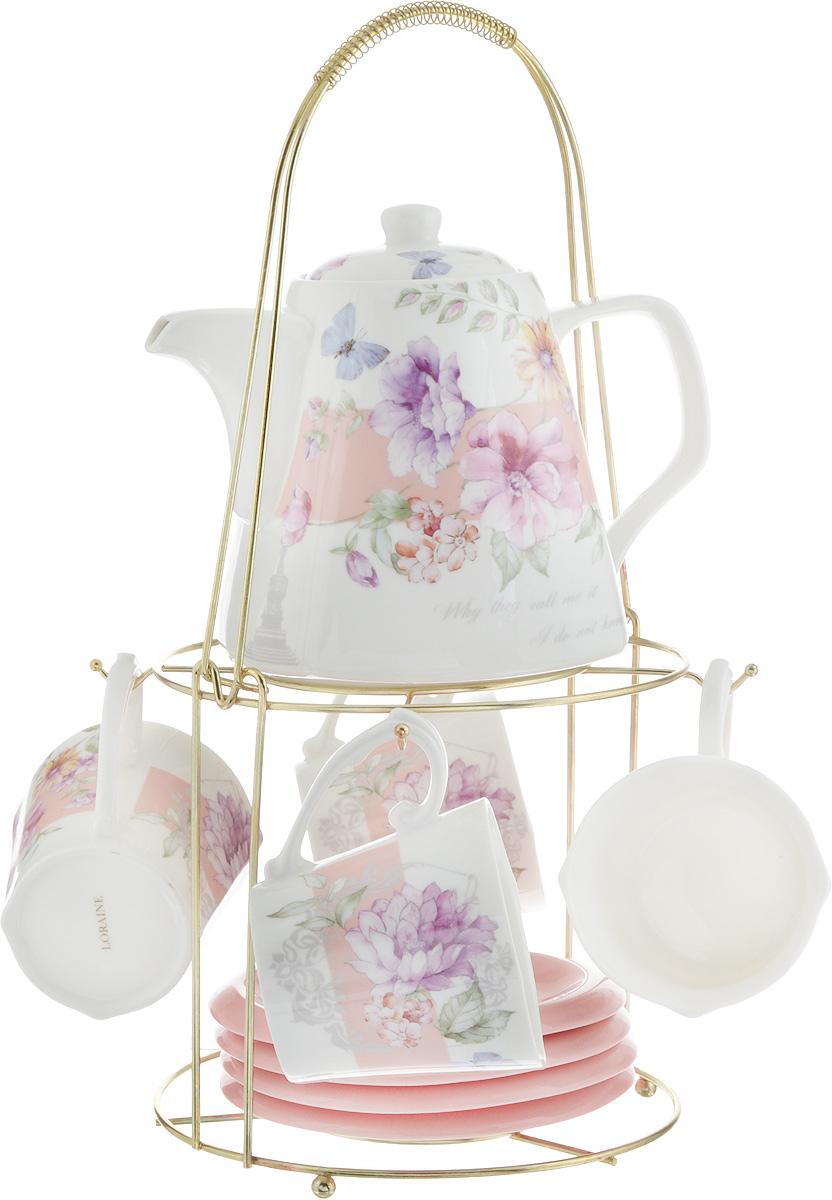 Набор чайный Loraine, на подставке, 10 предметов. 2473324733Чайный набор Loraine состоит из 4 чашек, 4 блюдец, заварочного чайника и подставки. Посуда изготовлена из качественной глазурованной керамики и оформлена изображением цветов. Блюдца и чашки имеют необычную фигурную форму. Все предметы располагаются на удобной металлической подставке с ручкой.Элегантный дизайн набора придется по вкусу и ценителям классики, и тем, кто предпочитает современный стиль. Он настроит на позитивный лад и подарит хорошее настроение с самого утра. Чайный набор Loraine идеально подойдет для сервировки стола и станет отличным подарком к любому празднику. Можно использовать в СВЧ и мыть в посудомоечной машине. Объем чашки: 250 мл. Размеры чашки (по верхнему краю): 8,5 х 8,2 см. Высота чашки: 7,5 см. Диаметр блюдца: 14 см. Высота блюдца: 1,5 см.Объем чайника: 1,1 л. Размер чайника (без учета ручки и носика): 13 х 13 х 13 см. Размер подставки: 18 х 18 х 37 см.