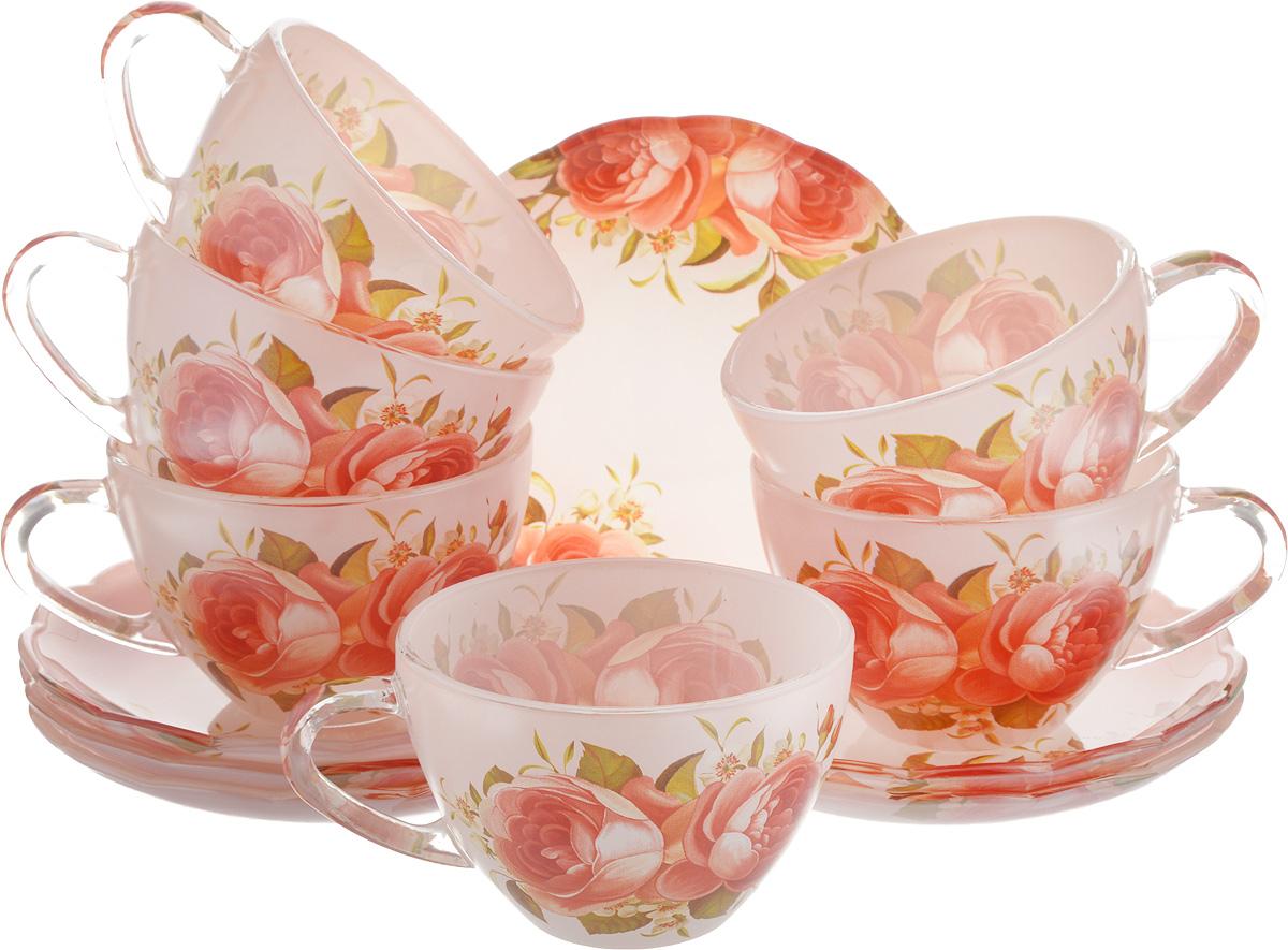 Набор чайный Loraine, 12 предметов. 2411924119Чайный набор Loraine состоит из шести чашек и шести блюдец. Предметы набора изготовлены из высококачественного стекла. Изящные цветочные изображения придают набору стильный внешний вид. Чайный набор изысканного утонченного дизайна украсит интерьер кухни. Прекрасно подойдет как для торжественных случаев, так и для ежедневного использования.Объем чашки: 200 мл. Диаметр чашки (по верхнему краю): 9 см. Высота стенки чашки: 5,8 см.Диаметр блюдца (по верхнему краю): 13,2 см.Высота блюдца: 1,7 см.