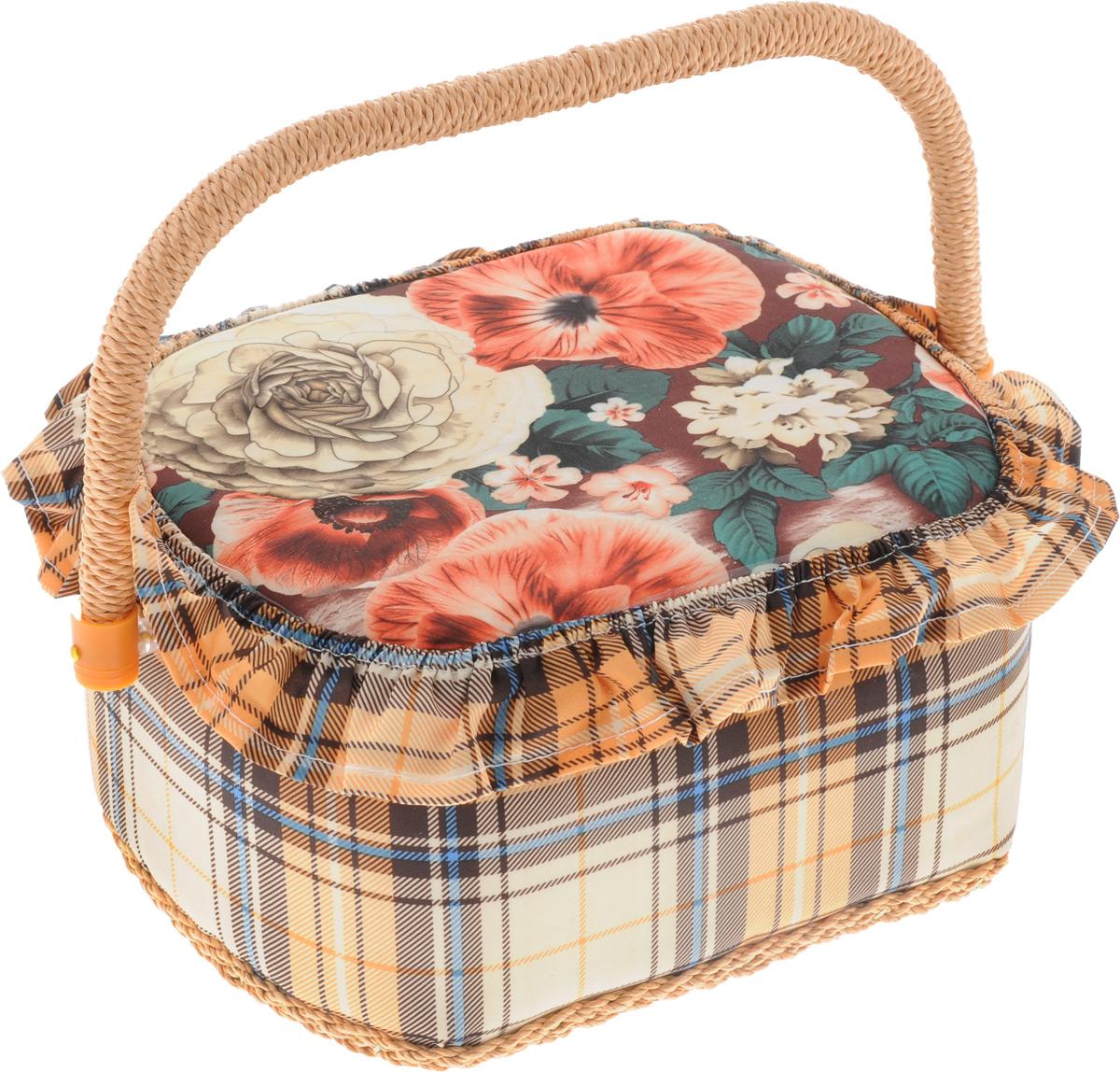 Шкатулка для рукоделия Bestex Цветы, 23 х 18 х 12 см шкатулка для рукоделия rto цветочки с вкладышем 23 х 23 х 14 5 см