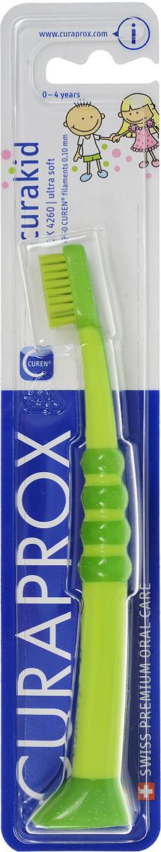 Curaprox CK 4260 Зубная щетка детская Curaprox с гуммированной ручкой цвет: салатовыйCK4260_салатовыйДетская зубная щетка с мягкой щетиной предназначена для ежедневной чистки зубов ребенка. Небольшая форма головки щетки обеспечивает превосходный доступ ко всем зонам полости рта. Прорезиненная ручка удобно удерживается в руке ребенка и позволяет легко манипулировать щеткой.