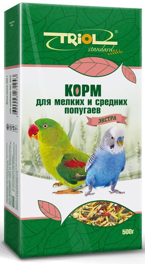 Корм для мелких и средних попугаев Тriol Standard. Экстра, 500 г triol корм для мелких и средних попугаев с мёдом