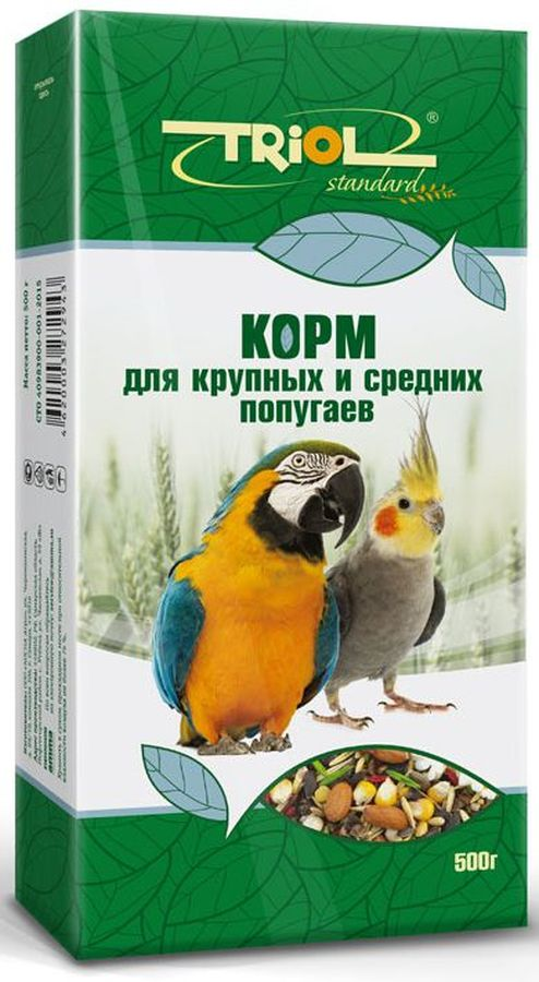 Корм для крупных и средних попугаев Тriol Standard, 500 г корм вака high quality для средних попугаев 500 гр