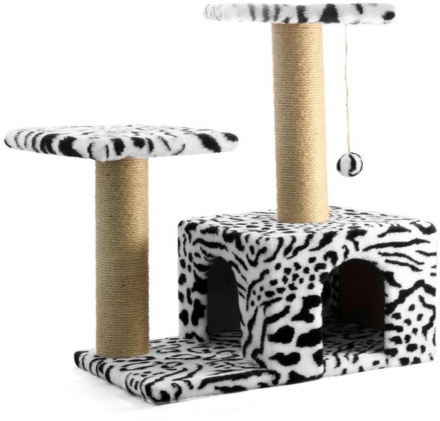 Игровой комплекс Гамма для кошек, двухуровневый, цвет: белый, черный, 57 х 35 х 77 смЩг-18700зИгровой комплекс Гамма - станет любимым местом ваших питомцев.Комплекс состоит из двух джутовых столбиков, каждый диаметром 8 см, с двумя разноуровневыми платформами (30 х 30 см).Дополняет изделие уютный домик с просторным входом и мягкая игрушка на резинке. Размер основания: 57 х 35 см.