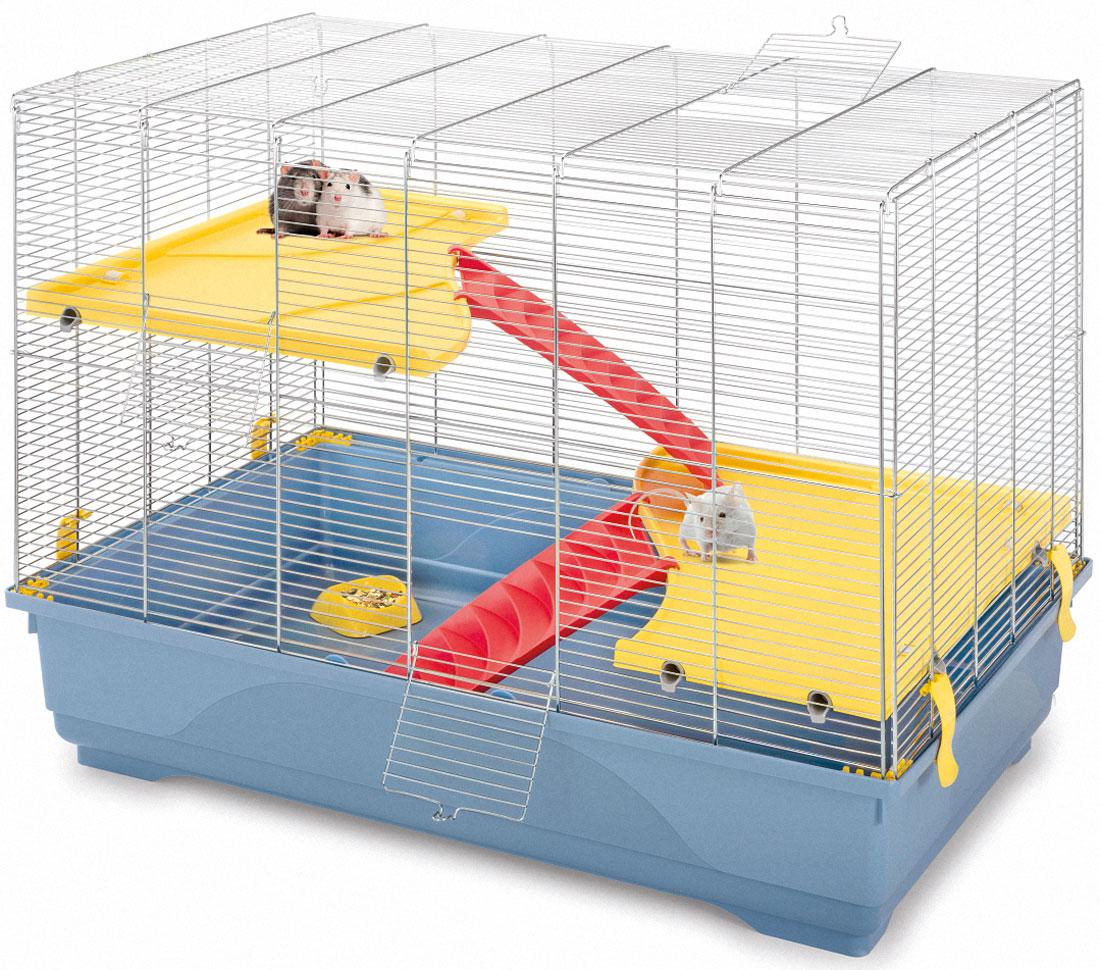 Клетка для грызунов Imac Rat 80 Mid, цвет: пепельно-синий, 80 х 48,5 х 63 см2007Клетка для грызунов Imac Rat 80 Mid - создана специально для крыс. В комплекте имеется две полочки-этажа и лестиницы, с помощью которых вы сможете спланировать внутреннее пространство по вашему желанию. Просторная клетка для грызунов Imac Rat 80 Mid - отличный выбор для тех, кто заводит одного или пару хвостатых питомцев. Зверькам будет комфортно и уютно в их новом доме.Длина 80 см Ширина 48,5 смВысота 63 см. При установке клетки убедитесь, что ваш питомец не будет подвержен прямому солнечному свету и сквознякам.Установите клетку в таком месте, чтобы зверёк чувствовал себя спокойно и защищённо.Кормушку расположите в легкодоступном месте, чтобы вам было удобно добавлять корм и воду. Поилку всегда следует содержать в чистоте, воду ежедневно менять на свежую. В ваше отсутствие клетку с питомцем следует держать закрытой, чтобы зверёк не выпал и не повредил себя, а также не стал жертвой других домашних животных. Перед первым использованием ополосните под тёплой водой все пластиковые и металлические детали клетки. Высококачественный пластик отмывается от загрязнений в тёплой воде с мылом или мягким моющим средством. Регулярно чистите клетку, и ваши питомцы будут вам очень благодарны!