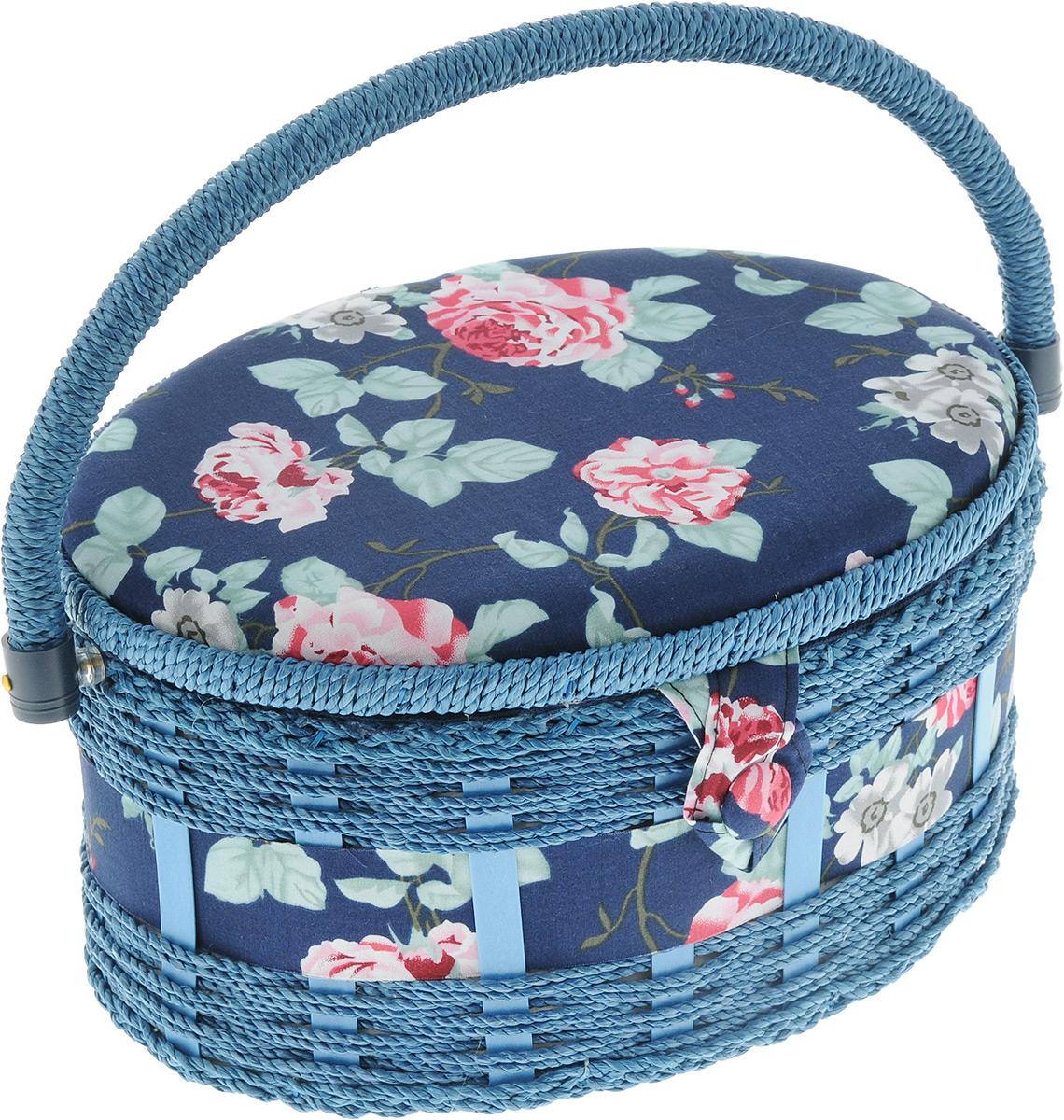 Шкатулка для рукоделия Bestex Роза на синем, 24,5 х 18 х 13,5 см шкатулка для рукоделия hobby