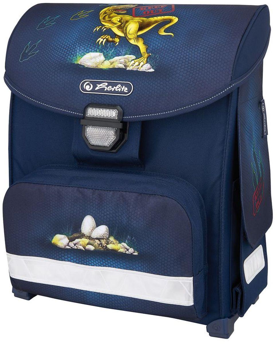 Herlitz Ранец школьный для мальчика Smart Dino цвет темно-синий50007875Ранец Smart Dino подарит ребенку удобство и стильный внешний вид. Исполненный из полиэстера, он имеет два основных отделения, прикрытых клапаном на защелке, на внутренней стороне которого имеется расписание для уроков, два боковых кармана на липучке, один большой внешний карман на молнии, уплотненную эргономичную спинку, твердое дно с пластиковыми ножками и широкие мягкие регулируемые лямки. Ткань ранца пропитана водоотталкивающим составом. Для удобства переноски рюкзак снабжен ручкой, а чтобы ребенка можно было распознать на дороге в сумерки - светоотражателями. Вес ранца меньше килограмма.
