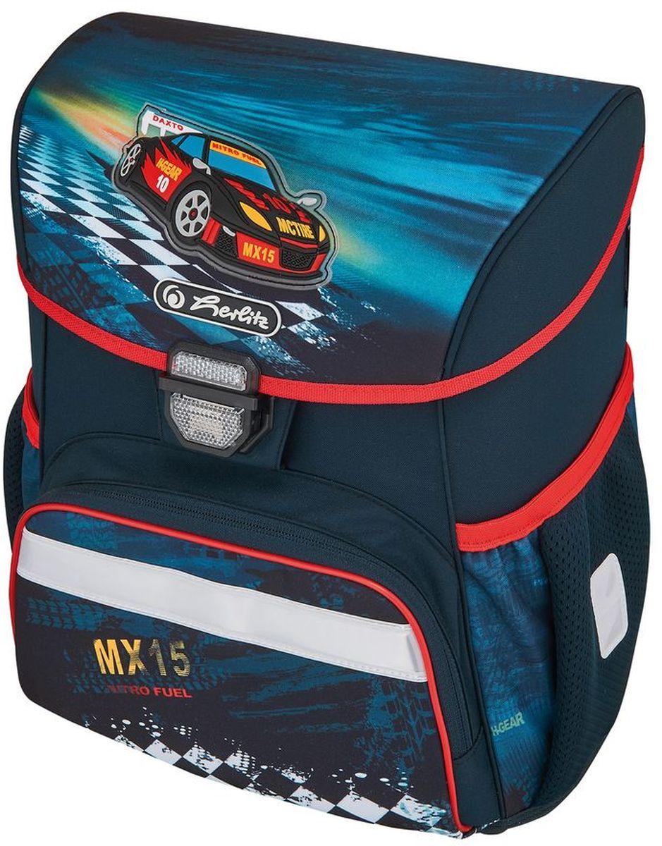 Herlitz Ранец школьный для мальчика Loop Plus Super Racer с наполнением цвет темно-синий50007943Ранец Loop Plus Super Racer подарит ребенку удобство и стильный внешний вид. Вместе с ранцем в набор входят: текстильный мешок для сменной обуви, жесткий пенал с наполнением 16 предметов, косметичка. Исполненный из полиэстера, он имеет два основных отделения, прикрытых клапаном на защелке, на внутренней стороне которого имеется расписание для уроков, два боковых кармана на резиночке, один большой внешний карман на молнии, уплотненную эргономичную спинку, твердое дно и широкие мягкие регулируемые лямки. Ткань ранца пропитана водоотталкивающим составом. Для удобства переноски рюкзак снабжен ручкой, а чтобы ребенка можно было распознать на дороге в сумерки - светоотражателями. Вес ранца меньше килограмма.