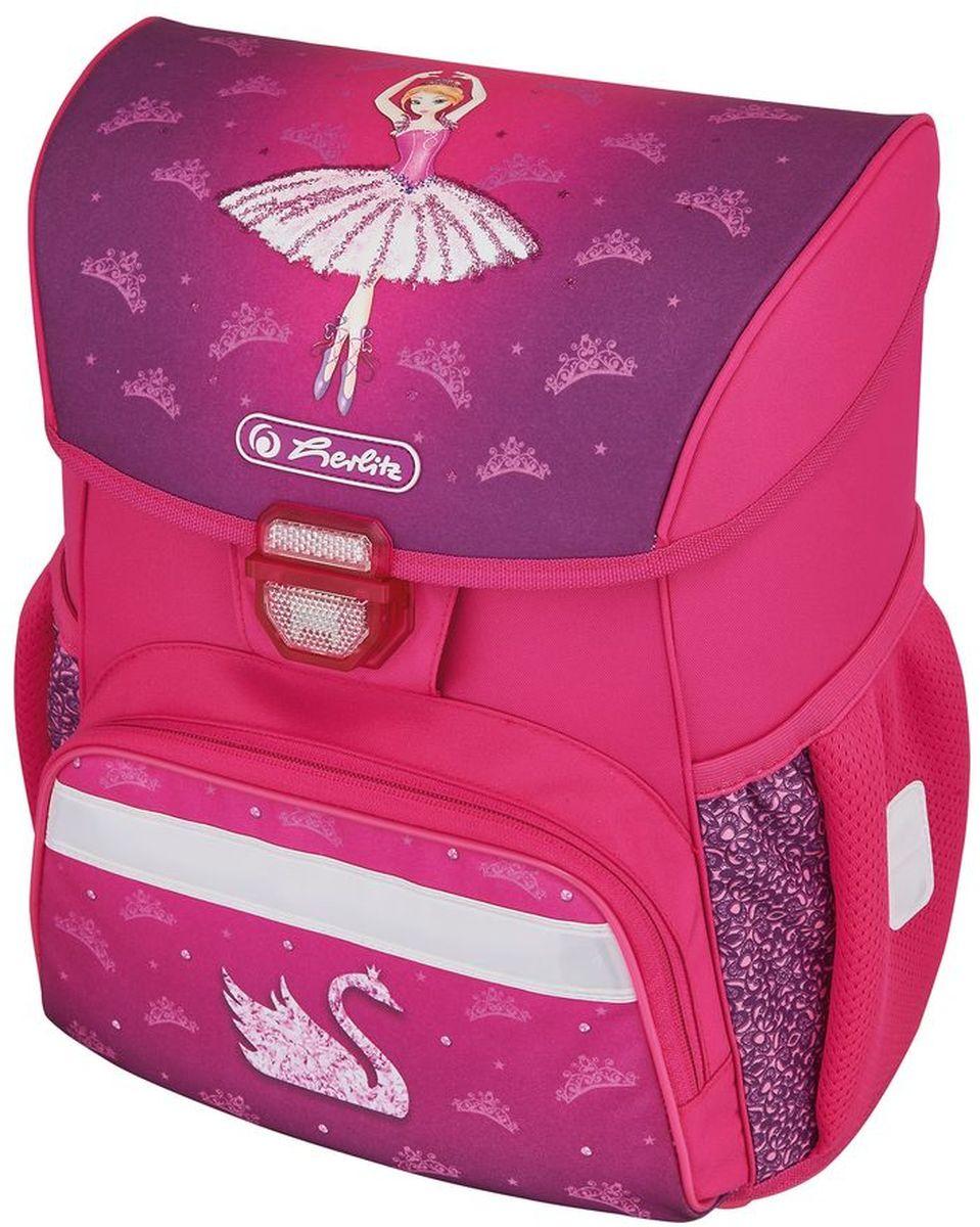 Herlitz Ранец школьный для девочки Loop Ballerina цвет розовый50008087Школьный ранец для девочки Loop Ballerina подарит ребенку удобство и стильный внешний вид. Исполненный из полиэстера, он имеет два основных отделения, прикрытых клапаном на защелке, на внутренней стороне которого имеется расписание для уроков, два боковых кармана на резиночке, один большой внешний карман на молнии, уплотненную эргономичную спинку, твердое дно и широкие мягкие регулируемые лямки. Ткань ранца пропитана водоотталкивающим составом. Для удобства переноски рюкзак снабжен ручкой, а чтобы ребенка можно было распознать на дороге в сумерки - светоотражателями. Вес ранца меньше килограмма.