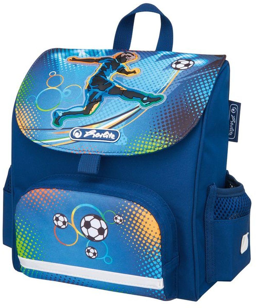 Herlitz Ранец дошкольный Mini Softbag Soccer50008155Небольшой ранец Herlitz Mini Softbag Soccer с эргономичной спинкой предназначен для дошкольников. Уплотненные регулируемые лямки позволяют равномерно распределить нагрузку, не нагружая позвоночник. Модель изготовлена из полиэстера с водоотталкивающей пропиткой. Светоотражающие полоски (на лямках, переднем и боковых карманах) из материала 3M Scotchlite обеспечивают безопасность ребенка в темное время суток. Изделие содержит одно отделение. В наружный передний карман на молнии поместятся карандаши, пенал с письменными принадлежностями. Два боковых кармана подходят для хранения личных вещей.Ранец Herlitz Mini Softbag Soccer компактный и легкий.