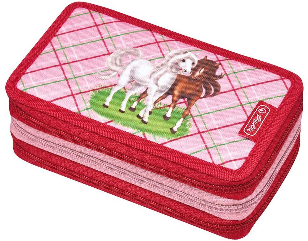 Herlitz Пенал Horses с наполнением 31 предмет цвет розовый красный50008520Пенал с наполнением Herlitz Horses состоит из трех отделений с молниями.В комплект входит 31 предмет: 8 карандашей, 14 фломастеров, ручка, линейка, 2 угольника, точилка, ластик, 2 чернографитных карандаша, трафарет