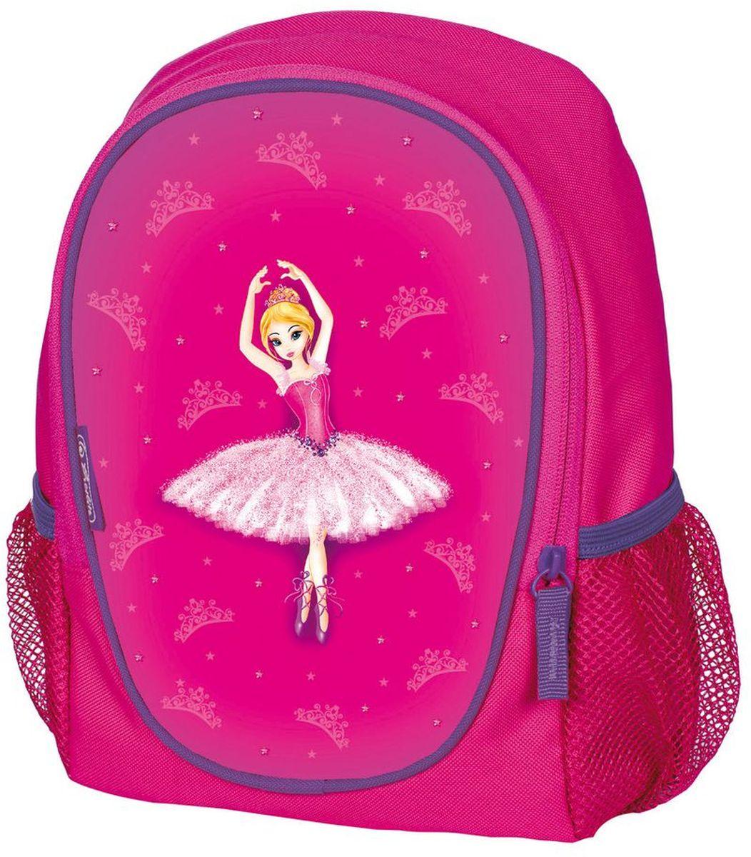 Herlitz Рюкзак дошкольный Rookie Ballerina50009428Дошкольный рюкзак Herlitz Rookie Ballerina имеет яркий, привлекательный дизайн. Рюкзак имеет одно основное отделение на застежке-молнии и два боковых открытых карман. У изделия вентилируемые спинка и лямки.