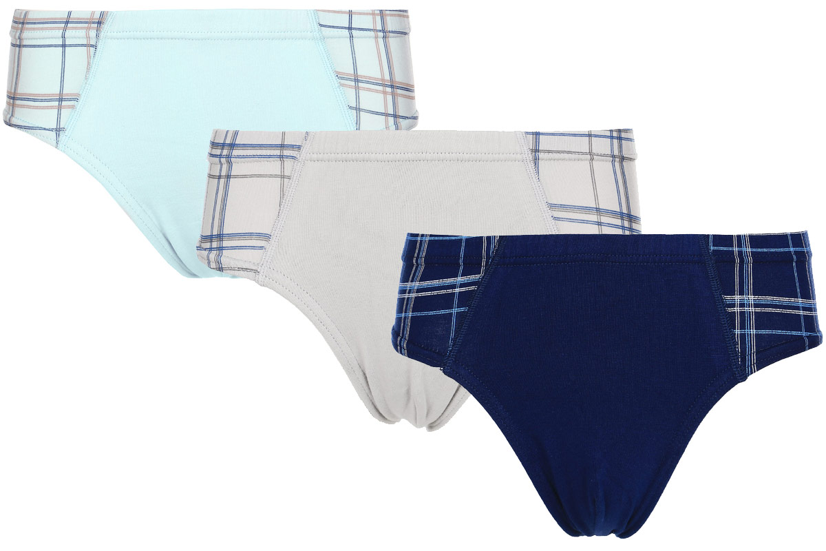 Трусы для мальчика Baykar, цвет: синий, бежевый, голубой, 3 шт. N3054-22. Размер 122/128 baykar baykar майка для мальчика серая