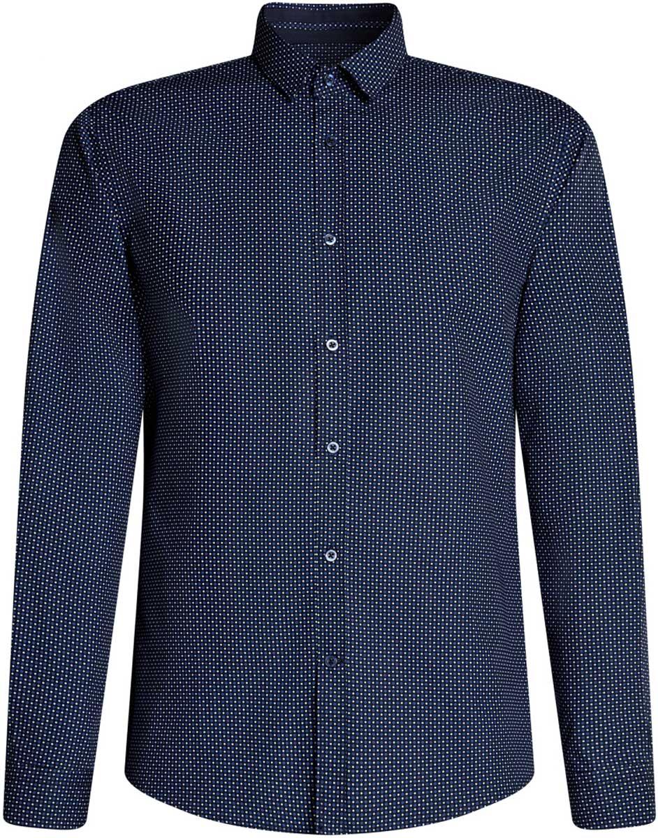 Рубашка мужская oodji Lab, цвет: темно-синий, синий. 3L110246M/19370N/7975G. Размер 40-182 (48-182) рубашка мужская greg horman цвет темно синий 2 171 20 1392 размер 40 48