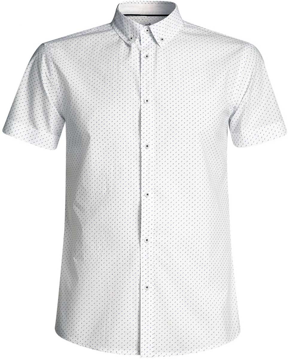 Рубашка мужская oodji Lab, цвет: белый, синий. 3L410095M/39312N/1075G. Размер XXL-182 (58/60-182)3L410095M/39312N/1075GМужская рубашка от oodji выполнена из натурального хлопка. Модель с короткими рукавами застегивается на пуговицы.
