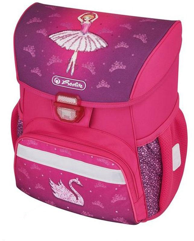 Herlitz Ранец школьный для девочки Loop Plus Ballerina с наполнением цвет розовый50009398Ранец для девочки Loop Plus Ballerina подарит ребенку удобство и стильный внешний вид. Вместе с ранцем в набор входят: текстильный мешок для сменной обуви, жесткий пенал с наполнением 16 предметов, косметичка. Исполненный из полиэстера, он имеет два основных отделения, прикрытых клапаном на защелке, на внутренней стороне которого имеется расписание для уроков, два боковых кармана на резиночке, один большой внешний карман на молнии, уплотненную эргономичную спинку, твердое дно и широкие мягкие регулируемые лямки. Ткань ранца пропитана водоотталкивающим составом. Для удобства переноски рюкзак снабжен ручкой, а чтобы ребенка можно было распознать на дороге в сумерки - светоотражателями. Вес ранца меньше килограмма.