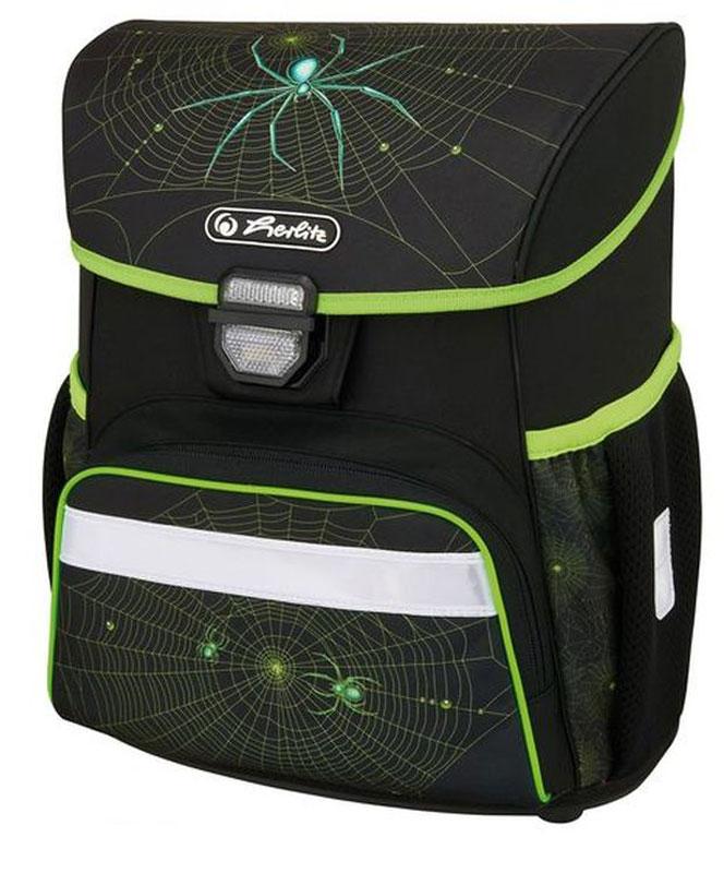 Herlitz Ранец школьный для мальчика Loop Plus Spider с наполнением цвет черный зеленый