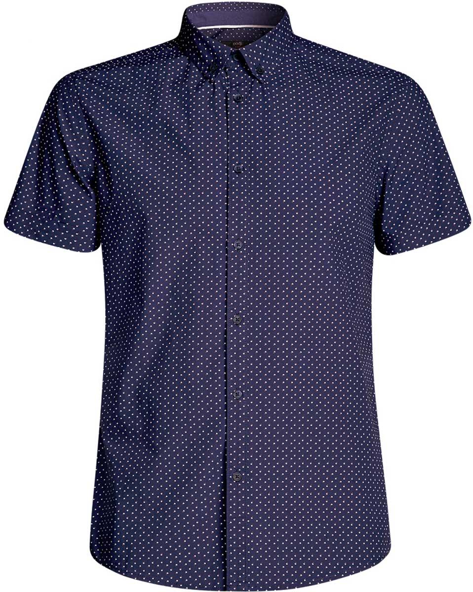 Рубашка мужская oodji Lab, цвет: темно-синий, белый. 3L410095M/39312N/7910G. Размер L-182 (52/54-182)3L410095M/39312N/7910GМужская рубашка от oodji выполнена из натурального хлопка. Модель с короткими рукавами застегивается на пуговицы.