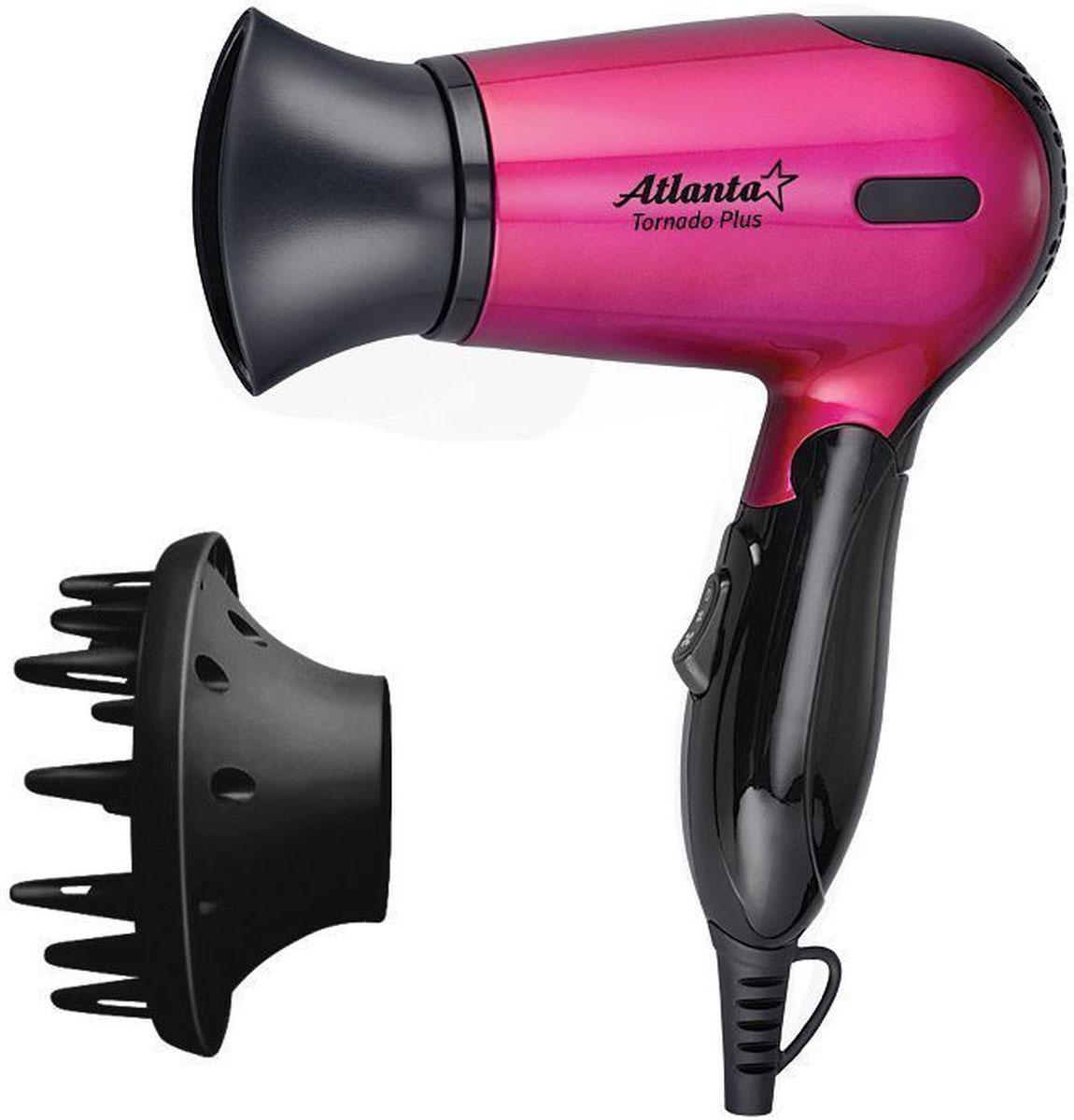 Atlanta ATH-882N, Pink фен77.858@25930Фен Atlanta ATH-882N обеспечивает мощный воздушный поток и быструю сушку волос. Сбалансированная система контроля температуры и силы воздушного потока устанавливает оптимальный режим сушки на уровне 57°С и исключает потерю протеина волос вследствие перегрева. Фен оснащен специальным механизмом отключения в случае перегрева и дополнительным плавким предохранителем на случай ошибки системы.Нихромовый нагревательный элемент выполнен в виде конуса для равномерного нагрева по всему потоку воздуха с использованием формы спирали зиг-заг, позволяющей улучшить показатель равномерности теплоотдачи данного нагревательного элемента.Прочная, удобная ручка легко складывается. Фен занимает мало места при хранении, а также очень удобен дороге.