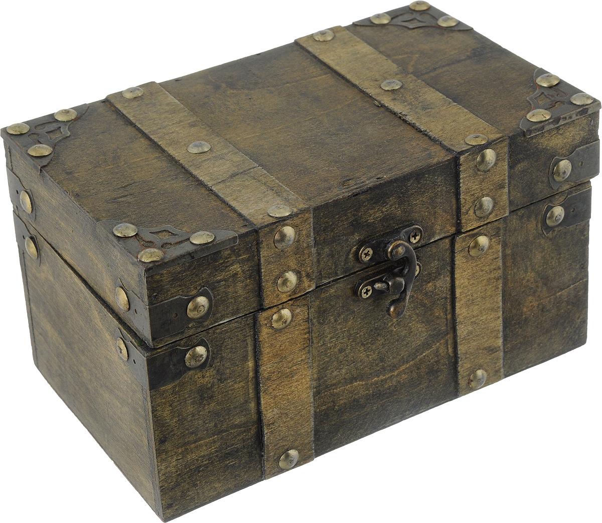 Шкатулка декоративная Bestex, 19 х 11,5 х 11 см7716744Декоративная шкатулка Bestex, выполненная в виде старинного сундука, идеально подойдет для хранения бижутерии, принадлежностей для шитья, различных мелочей и безделушек. Изделие выполнено из МДФ и декорировано металлическими элементами. Закрывается на металлический курковый замок. Такая шкатулка станет отличным подарком человеку, ценящему необычные и стильные аксессуары.
