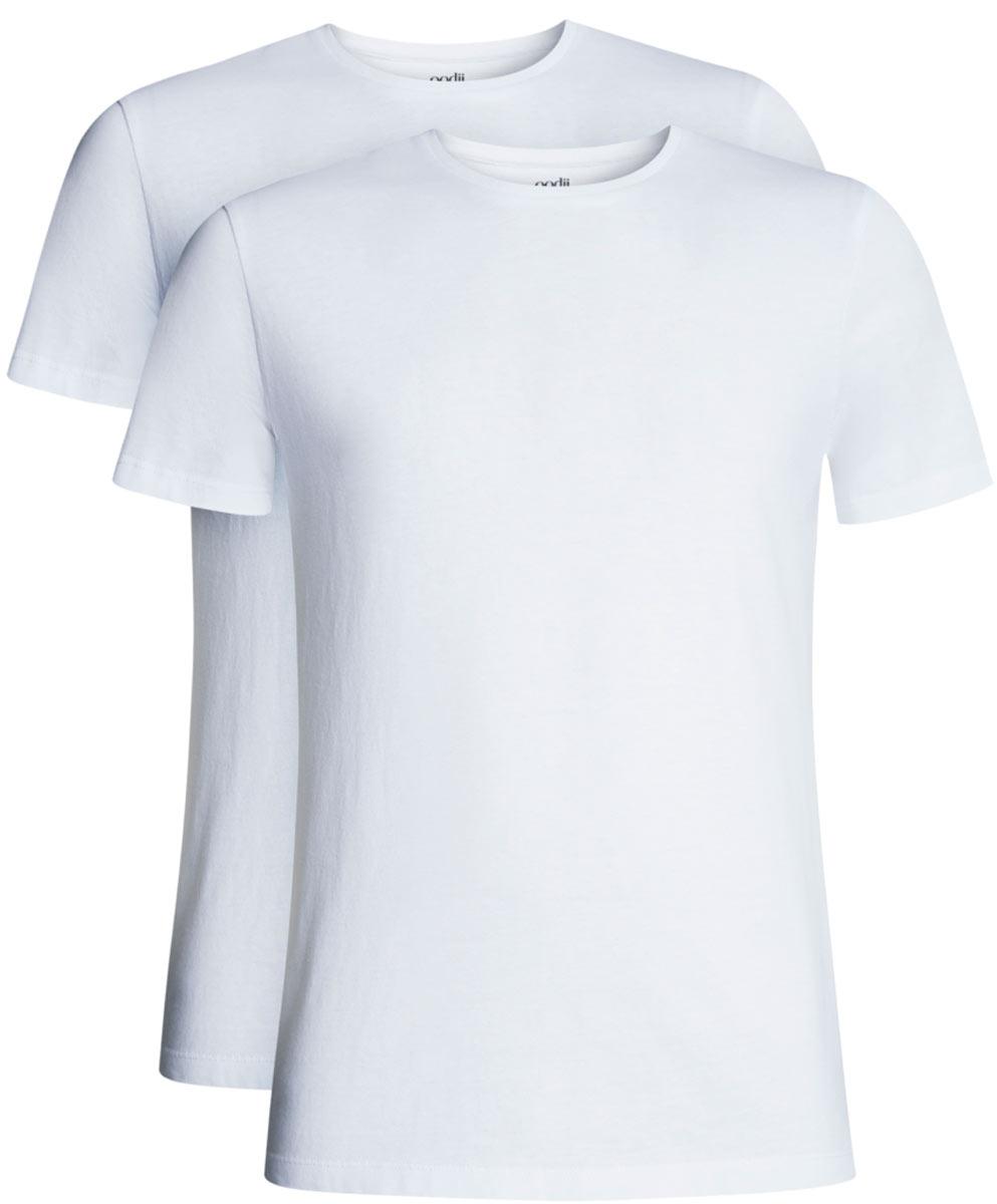 Футболка мужская oodji Basic, цвет: белый, 2 шт. 5B621002T2/44135N/1000N. Размер XXL (58/60)5B621002T2/44135N/1000NБазовая мужская футболка от oodji с круглым вырезом горловины и короткими рукавами выполнена из натурального хлопка. В комплект входит 2 футболки.
