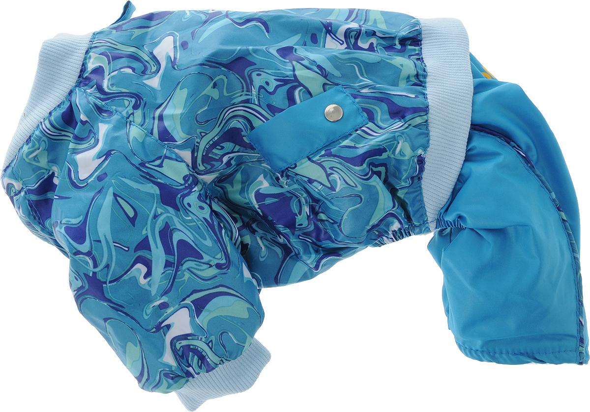 Комбинезон для собак Dogmoda Акварель, для мальчика, цвет: голубой, зеленый. Размер 2 (M)DM-150312-2_голубой, зеленыйКомбинезон для собак Dogmoda Акварель отлично подойдет для прогулок поздней осенью или ранней весной.Комбинезон изготовлен из полиэстера, защищающего от ветра и осадков, с подкладкой из флиса, которая сохранит тепло и обеспечит отличный воздухообмен. Комбинезон застегивается на кнопки, благодаря чему его легко надевать и снимать. Ворот, низ рукавов оснащены широкими трикотажными манжетами, которые мягко обхватывают шею и лапки, не позволяя просачиваться холодному воздуху. На пояснице комбинезон декорирован трикотажной резинкой.Длина по спинке: 24 см.Объем груди: 39 см.Обхват шеи: 25 см.
