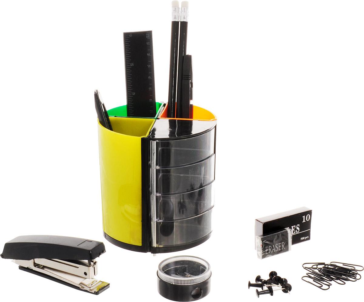 Настольный офисный набор Витраж, 13 предметовSS158Яркий и стильный настольный набор Витраж с оригинальной вращающейся подставкой с цветными секциями и прозрачными отделениями для мелочей - необходимый атрибут офисного сотрудника, студента, ученика и просто полезный набор на любом письменном столе. В наборе 13 предметов: 2 карандаша, ручка, ножницы, линейка, степлер и скобы No10, кнопки-гвоздики, скрепки, ластик, точилка, канцелярский нож, подставка. В настоящее время предлагаемый спектр канцелярских товаров необычайно широк. Для того чтобы сделать правильный выбор, помните, что канцелярские товары - это аксессуары, которые создают определенный стиль в интерьере стола. Характеристики: Размер подставки: 10 см х 10 см х 10 см. Материал: пластик, металл, дерево. Размер упаковки: 10,5 см х 19 см х 10,5 см.
