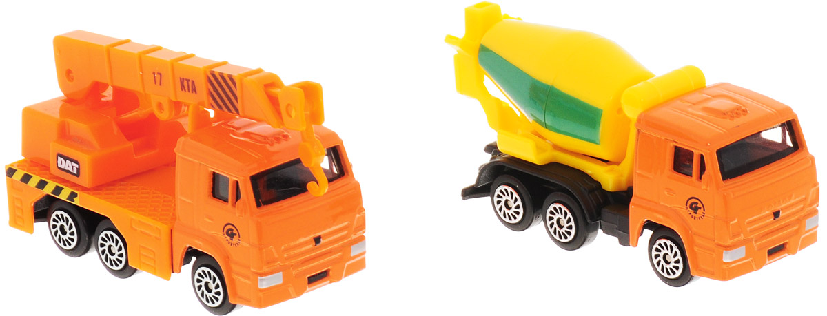 ТехноПарк Набор машинок КамАЗ автокран и бетономешалка технопарк набор машинок экскаватор и самосвал с прицепом