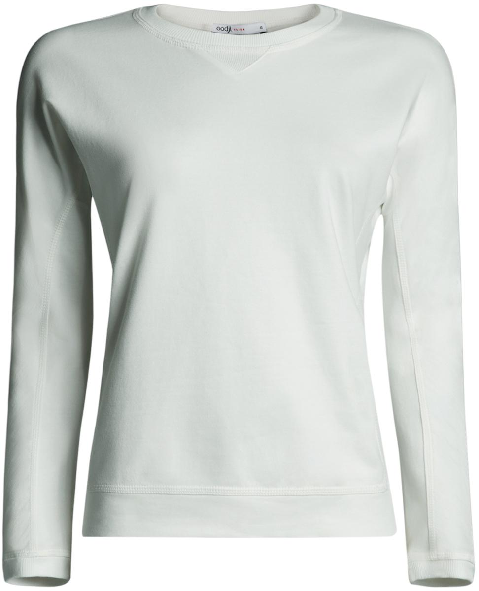 цены Свитшот женский oodji Ultra, цвет: белый. 14808007B/46927/1200N. Размер XL (50)