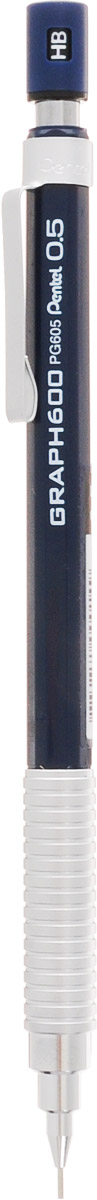 Pentel Карандаш механический Graph 600 цвет корпуса серебристый темно-синийPG605-CX/синий/серебристыйМеханический карандаш Pentel Graph 600 подходит для рисования, черчения и письма. Снабжен металлическим держателем и металлическим клипом. Сбалансированный корпус, матовый металл зоны захвата.Вам понравится этот комфортный и стильный карандаш.