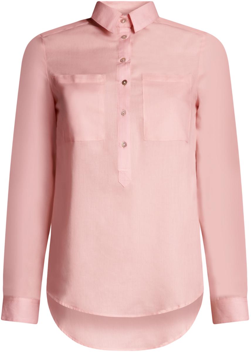 Блузка женская oodji Ultra, цвет: светло-розовый. 11411101B/45561/4000N. Размер 42-170 (48-170)